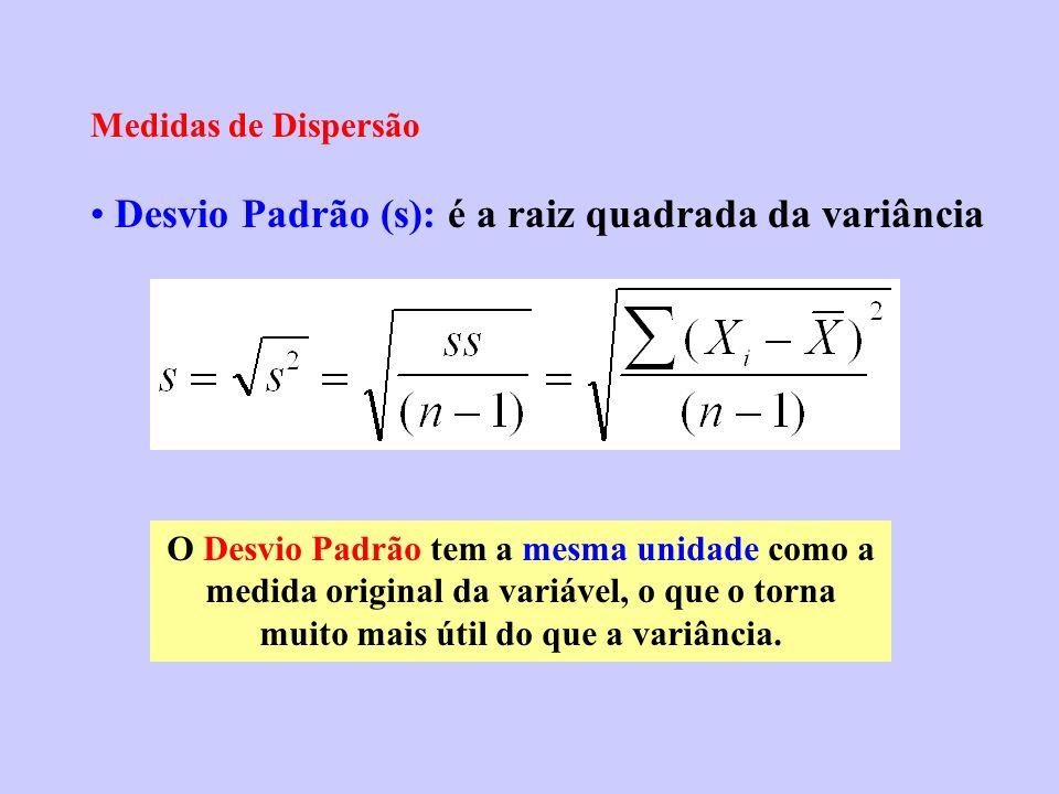 Desvio Padrão (s): é a raiz quadrada da variância