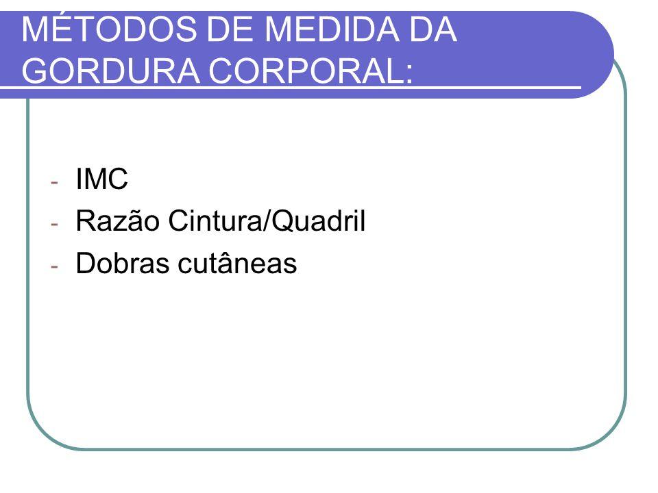 MÉTODOS DE MEDIDA DA GORDURA CORPORAL: