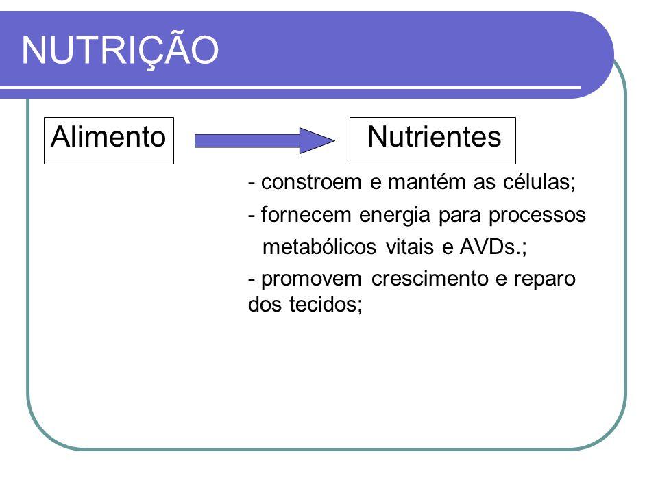 NUTRIÇÃO Alimento Nutrientes - constroem e mantém as células;