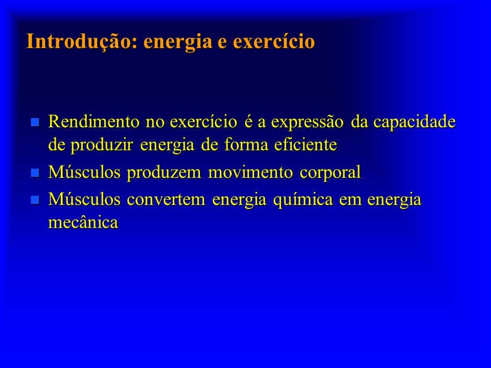 Introdução: energia e exercício