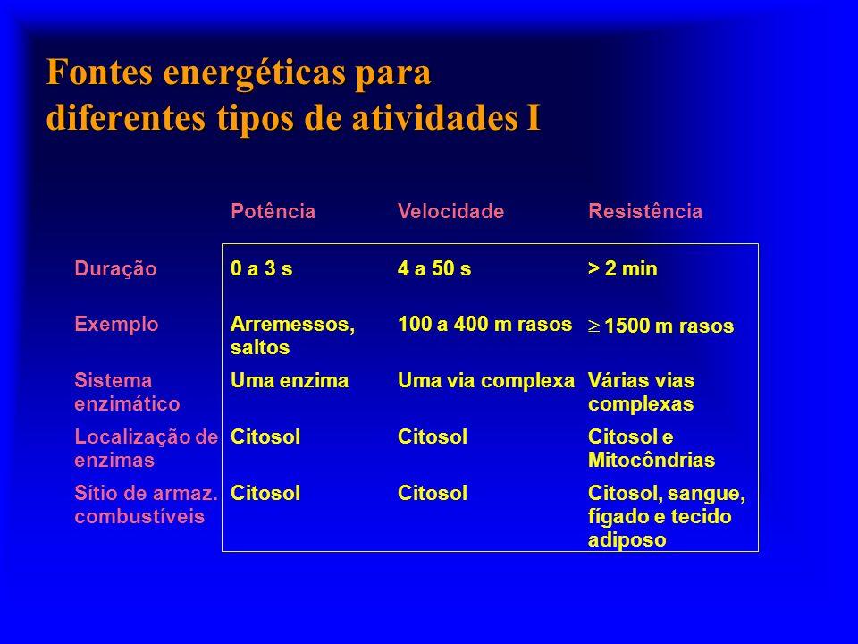 Fontes energéticas para diferentes tipos de atividades I