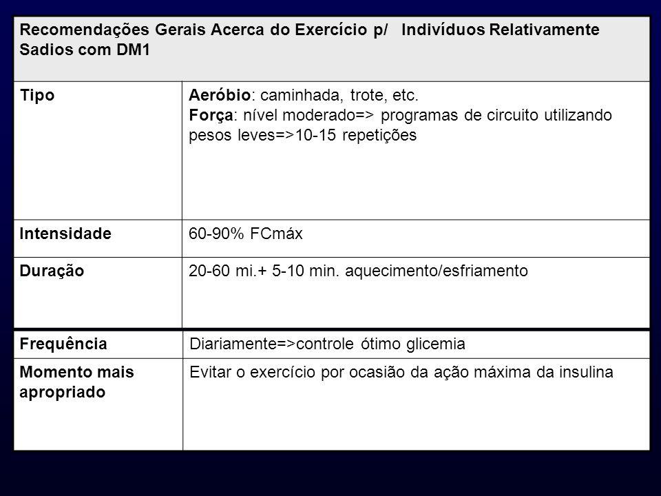 Recomendações Gerais Acerca do Exercício p/ Indivíduos Relativamente Sadios com DM1