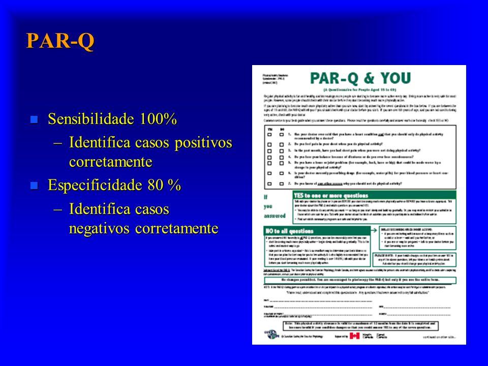 PAR-Q Sensibilidade 100% Identifica casos positivos corretamente