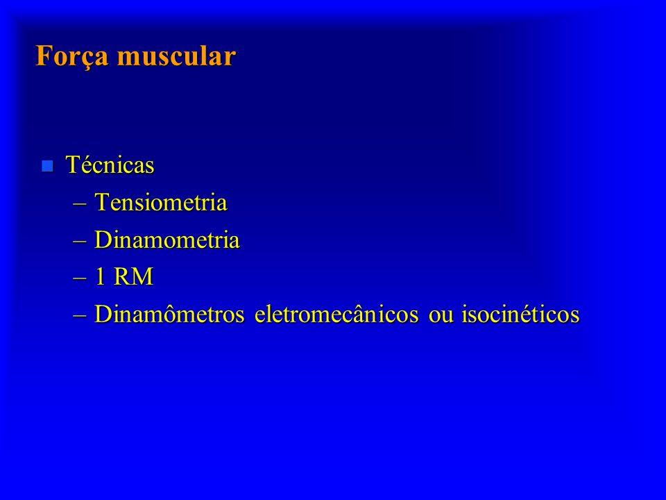 Força muscular Técnicas Tensiometria Dinamometria 1 RM