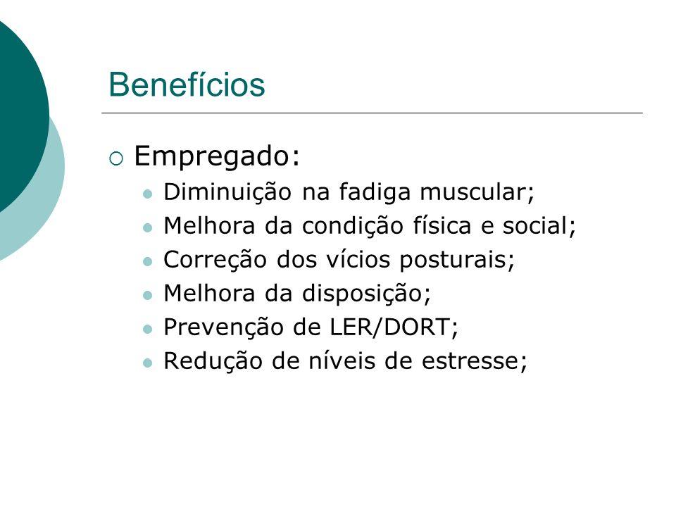 Benefícios Empregado: Diminuição na fadiga muscular;