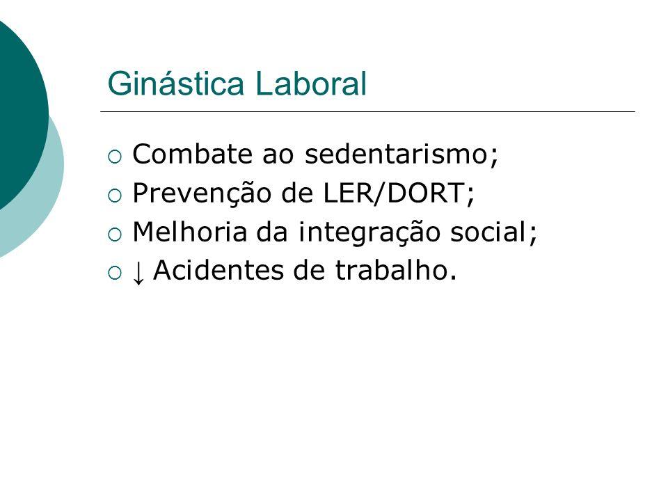 Ginástica Laboral Combate ao sedentarismo; Prevenção de LER/DORT;
