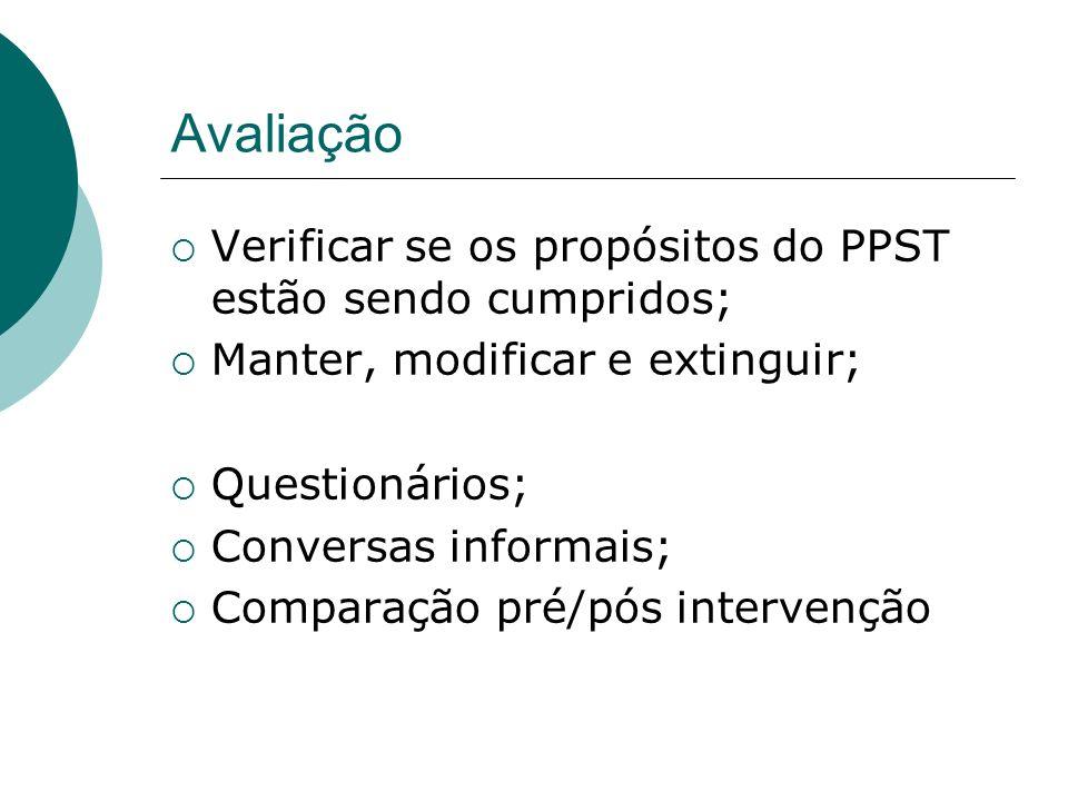 Avaliação Verificar se os propósitos do PPST estão sendo cumpridos;