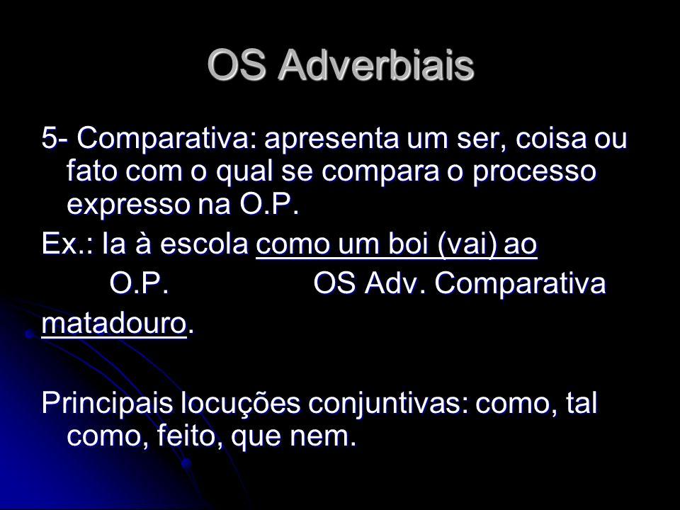 OS Adverbiais 5- Comparativa: apresenta um ser, coisa ou fato com o qual se compara o processo expresso na O.P.