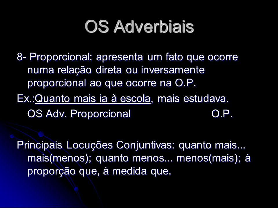 OS Adverbiais 8- Proporcional: apresenta um fato que ocorre numa relação direta ou inversamente proporcional ao que ocorre na O.P.