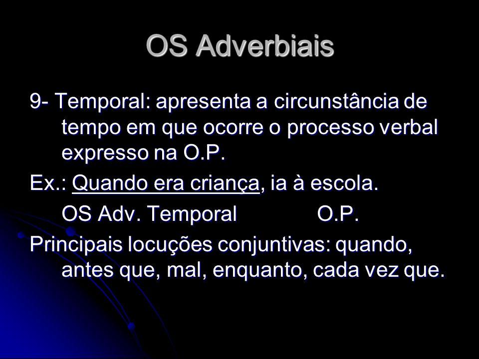 OS Adverbiais 9- Temporal: apresenta a circunstância de tempo em que ocorre o processo verbal expresso na O.P.