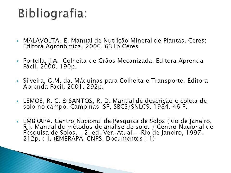 Bibliografia: MALAVOLTA, E. Manual de Nutrição Mineral de Plantas. Ceres: Editora Agronômica, 2006. 631p.Ceres.