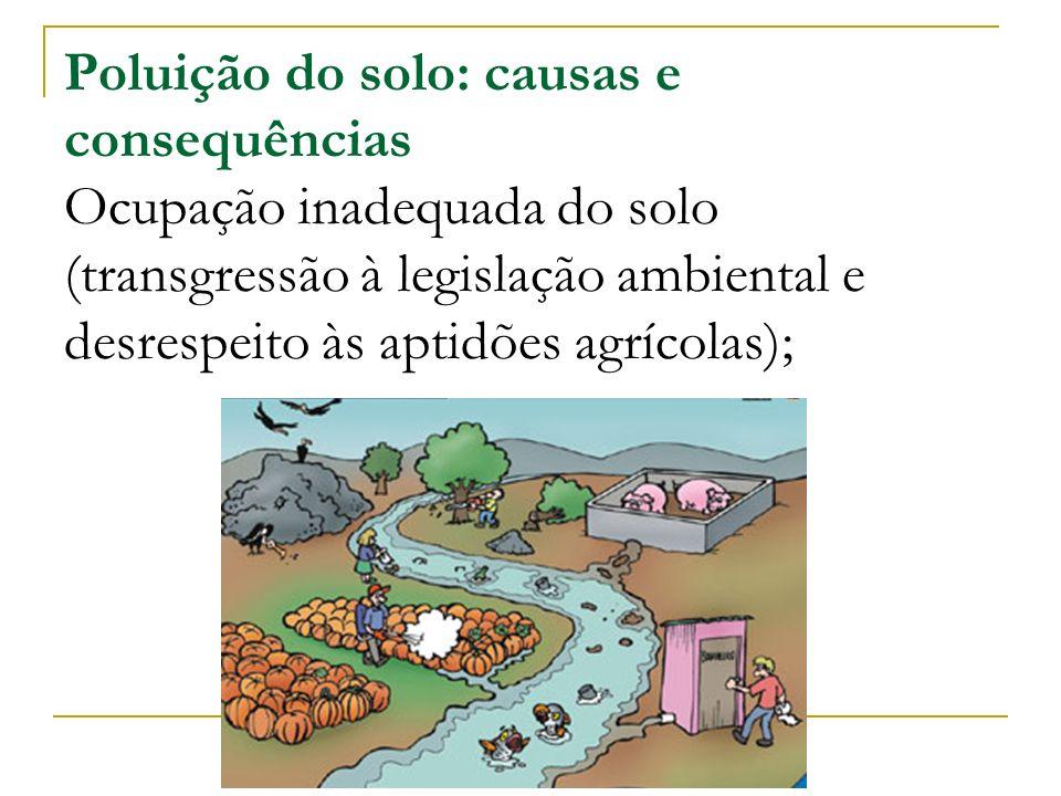 Poluição do solo: causas e consequências Ocupação inadequada do solo (transgressão à legislação ambiental e desrespeito às aptidões agrícolas);