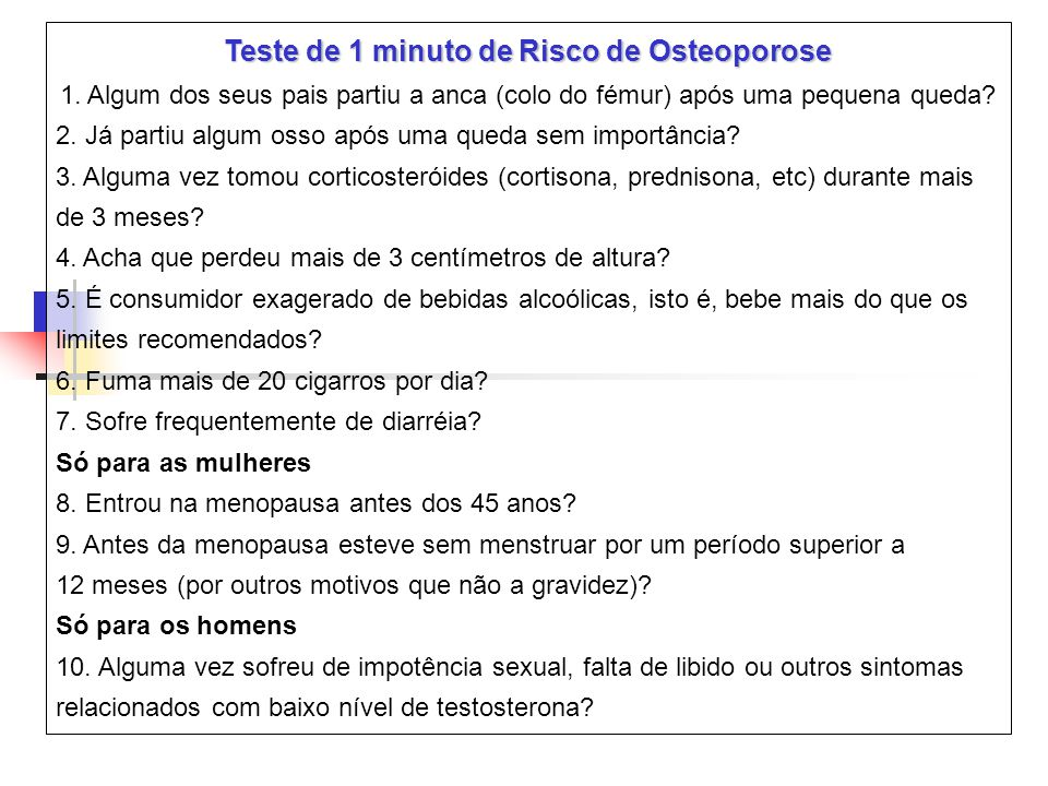 Teste de 1 minuto de Risco de Osteoporose