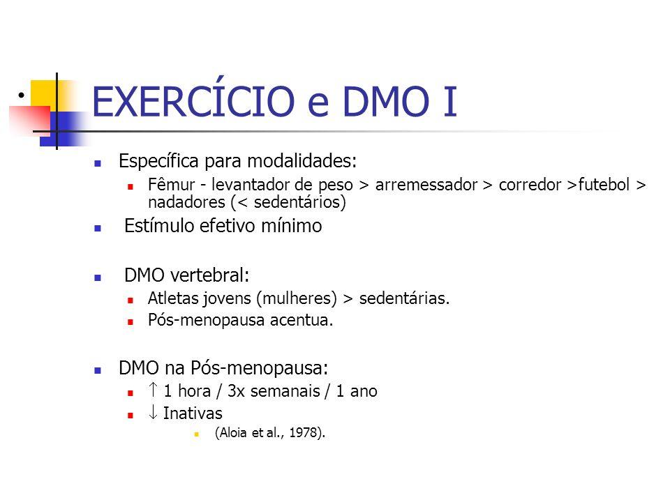 EXERCÍCIO e DMO I Específica para modalidades: Estímulo efetivo mínimo