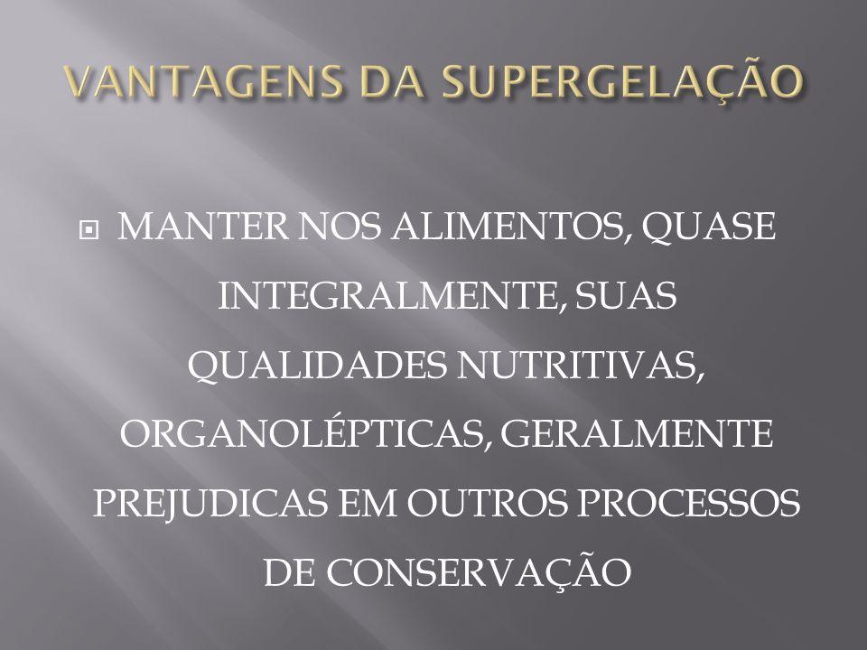 VANTAGENS DA SUPERGELAÇÃO