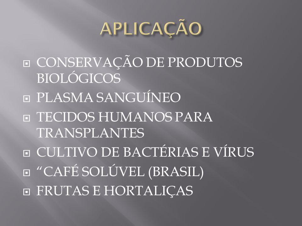 APLICAÇÃO CONSERVAÇÃO DE PRODUTOS BIOLÓGICOS PLASMA SANGUÍNEO