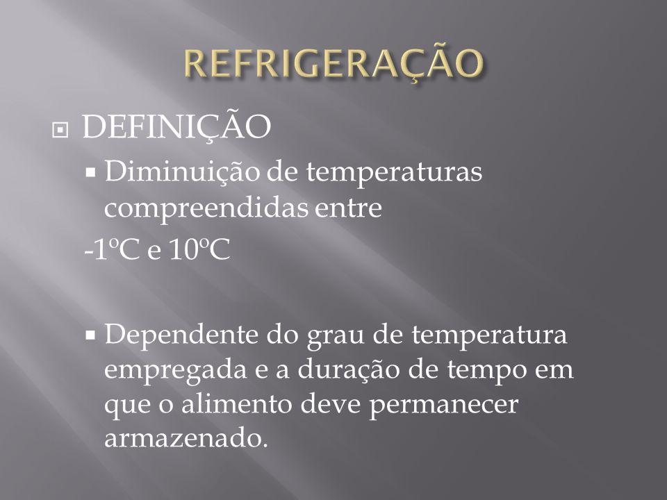 REFRIGERAÇÃO DEFINIÇÃO Diminuição de temperaturas compreendidas entre