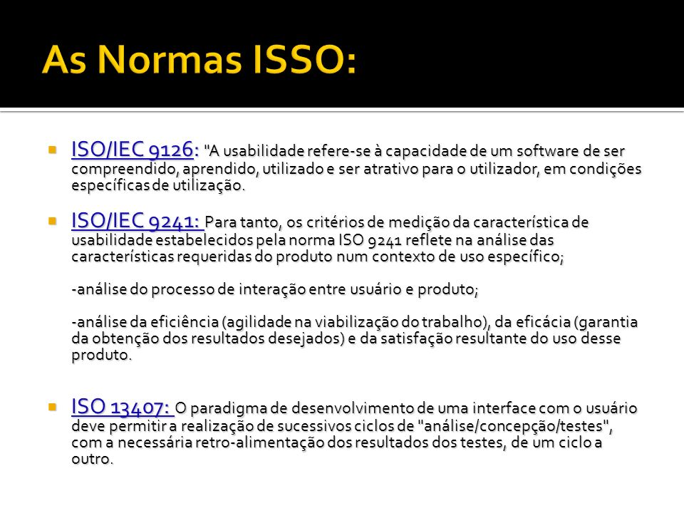 As Normas ISSO: