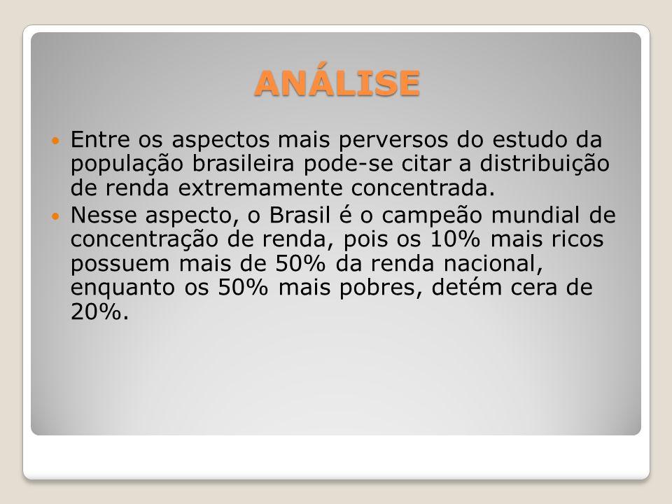 ANÁLISE Entre os aspectos mais perversos do estudo da população brasileira pode-se citar a distribuição de renda extremamente concentrada.