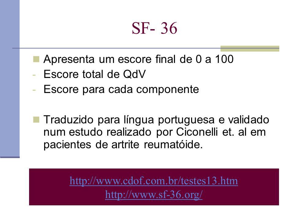 http://www.cdof.com.br/testes13.htm http://www.sf-36.org/