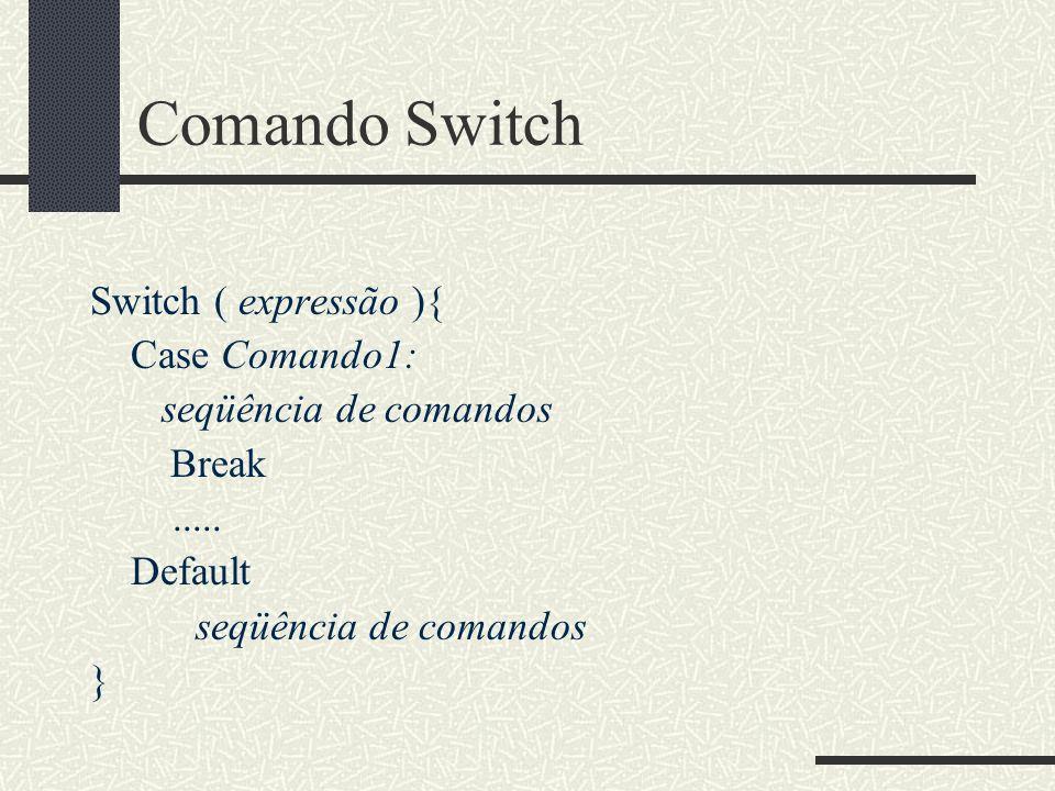 Comando Switch Switch ( expressão ){ Case Comando1: