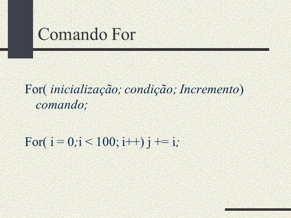 Comando For For( inicialização; condição; Incremento) comando;