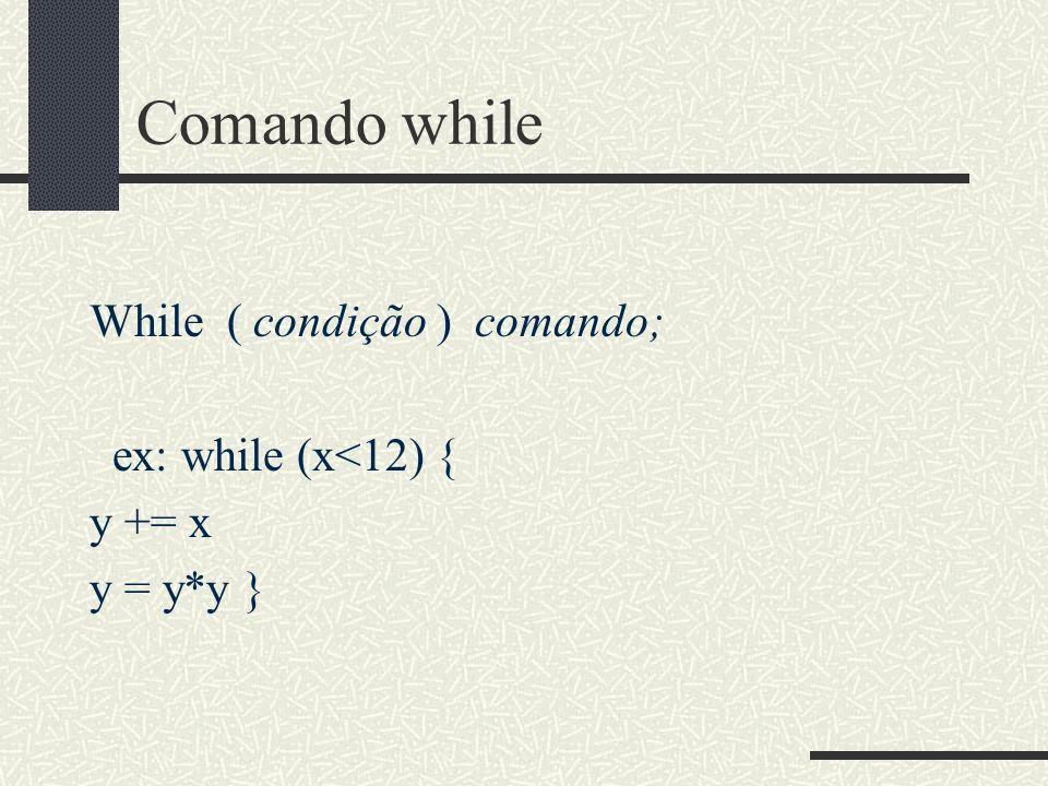 Comando while While ( condição ) comando; ex: while (x<12) { y += x