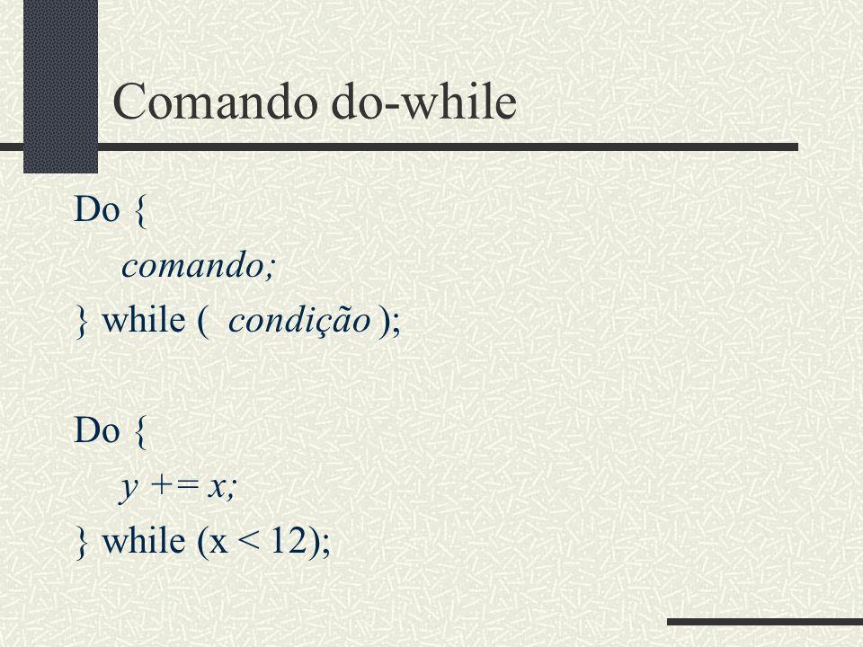 Comando do-while Do { comando; } while ( condição ); y += x;