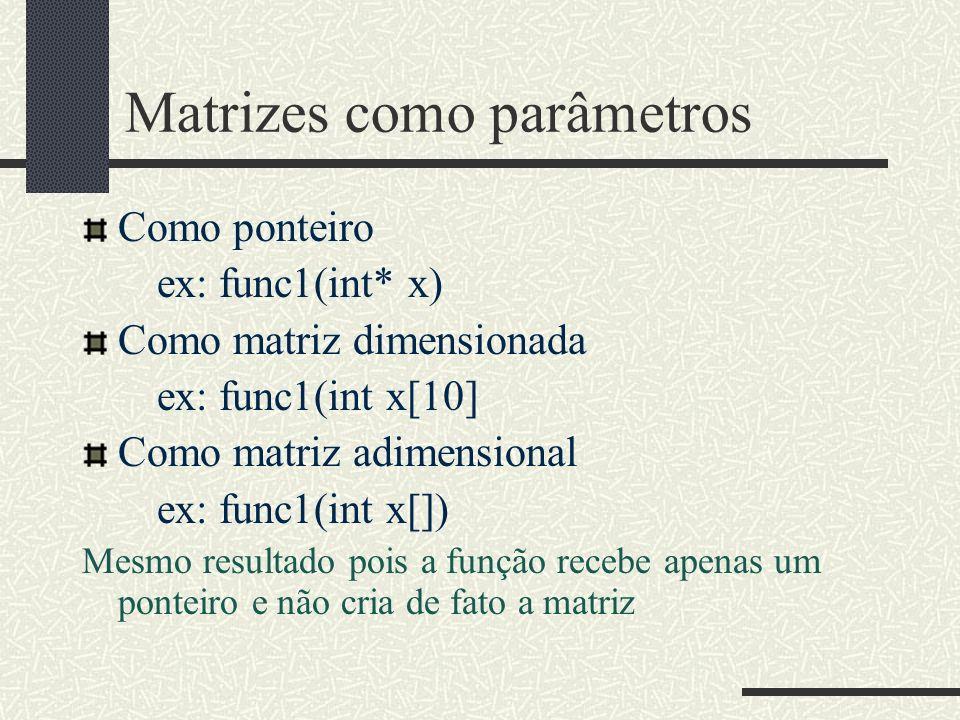 Matrizes como parâmetros