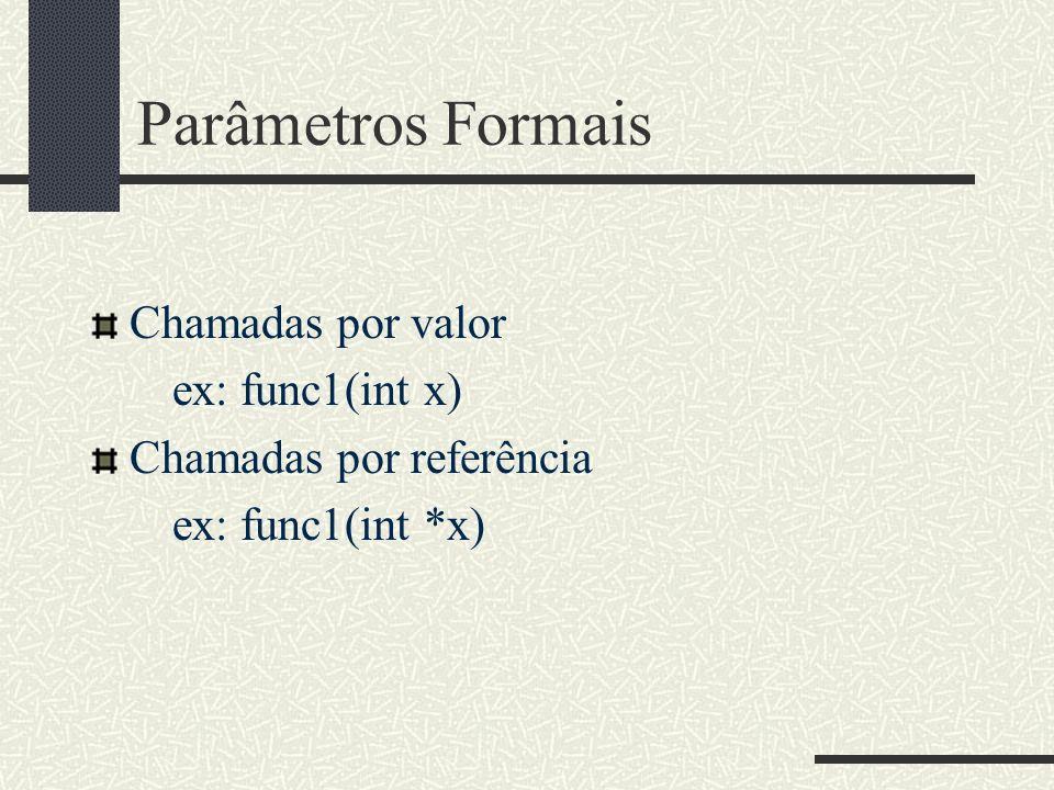 Parâmetros Formais Chamadas por valor ex: func1(int x)