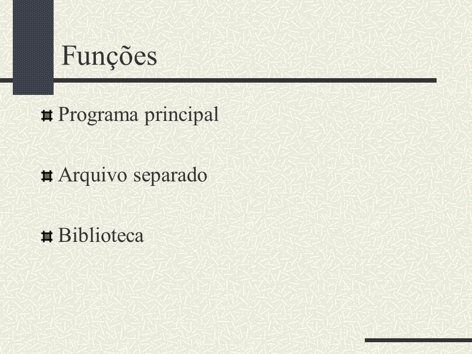 Funções Programa principal Arquivo separado Biblioteca