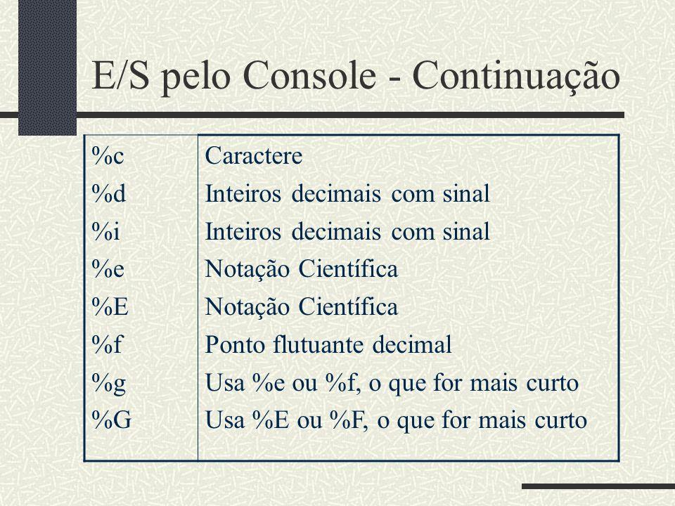 E/S pelo Console - Continuação