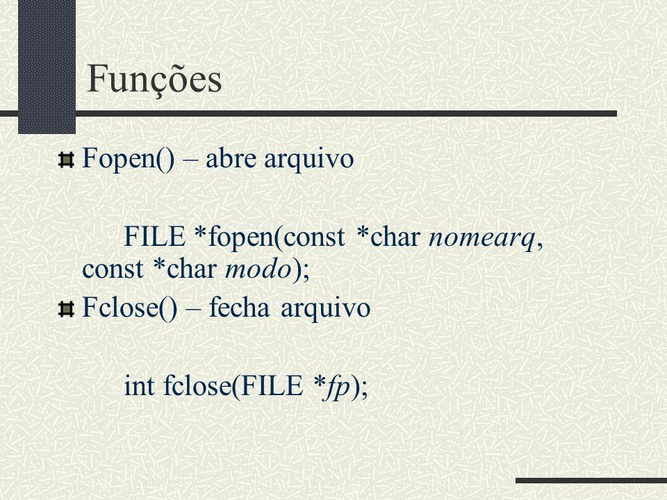 Funções Fopen() – abre arquivo