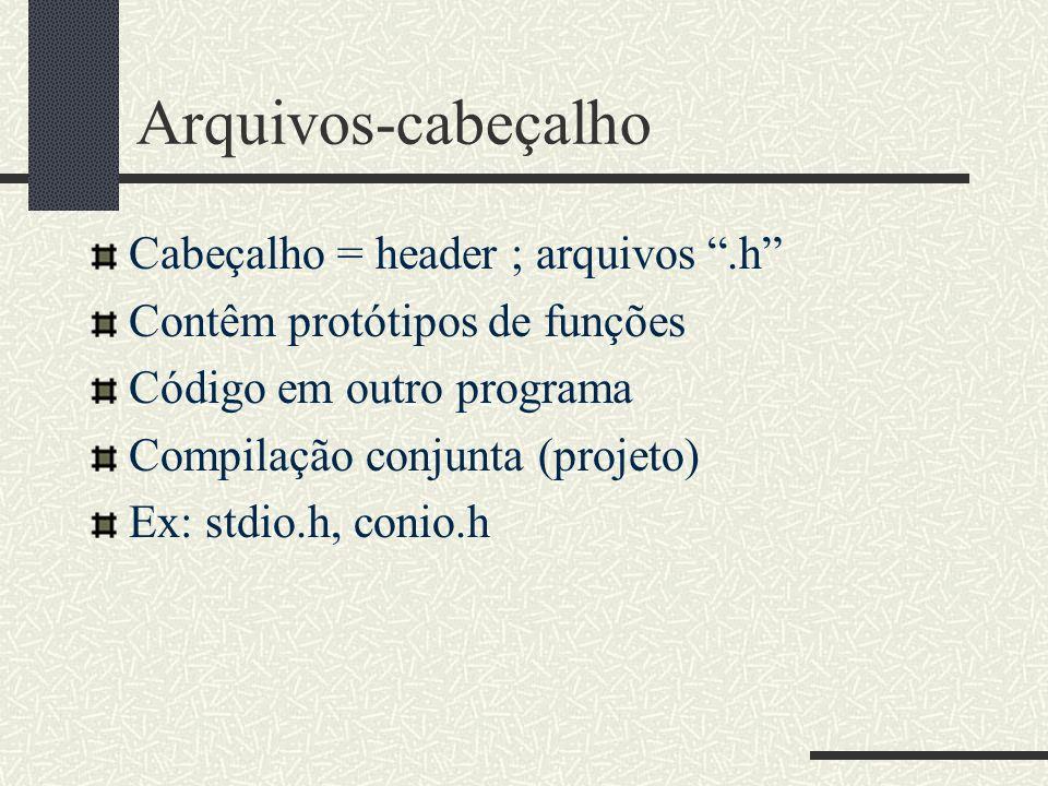 Arquivos-cabeçalho Cabeçalho = header ; arquivos .h