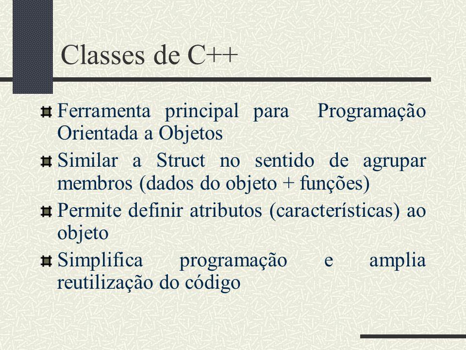 Classes de C++Ferramenta principal para Programação Orientada a Objetos. Similar a Struct no sentido de agrupar membros (dados do objeto + funções)