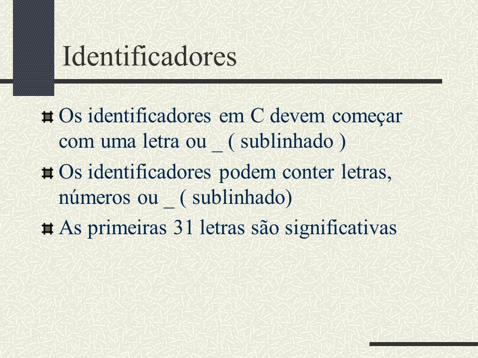 Identificadores Os identificadores em C devem começar com uma letra ou _ ( sublinhado )