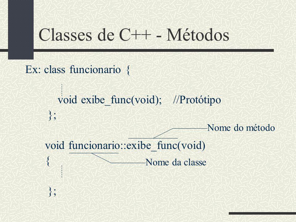 Classes de C++ - Métodos