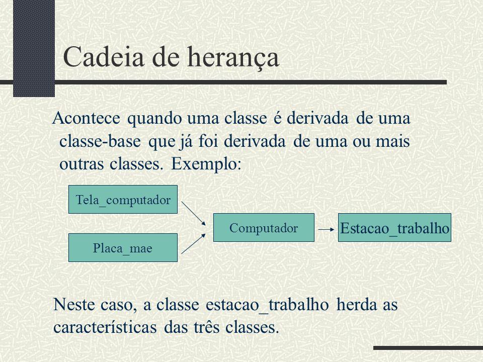 Cadeia de herança Acontece quando uma classe é derivada de uma classe-base que já foi derivada de uma ou mais outras classes. Exemplo: