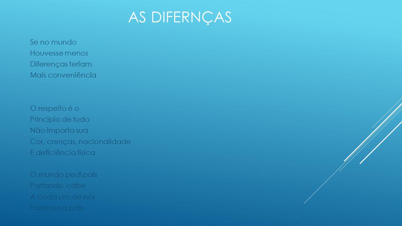 As DIFERNÇAS Se no mundo Houvesse menos Diferenças teriam