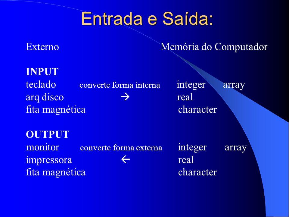 Entrada e Saída: Externo Memória do Computador INPUT