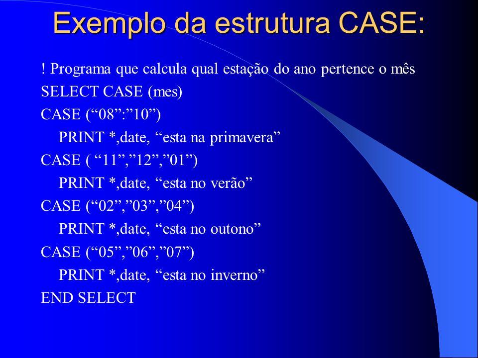 Exemplo da estrutura CASE:
