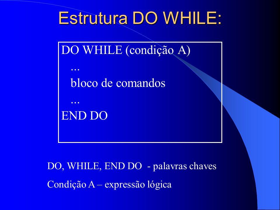 Estrutura DO WHILE: DO WHILE (condição A) ... bloco de comandos END DO