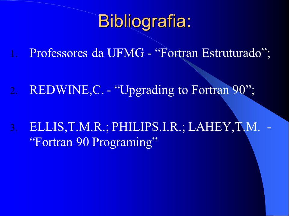 Bibliografia: Professores da UFMG - Fortran Estruturado ;