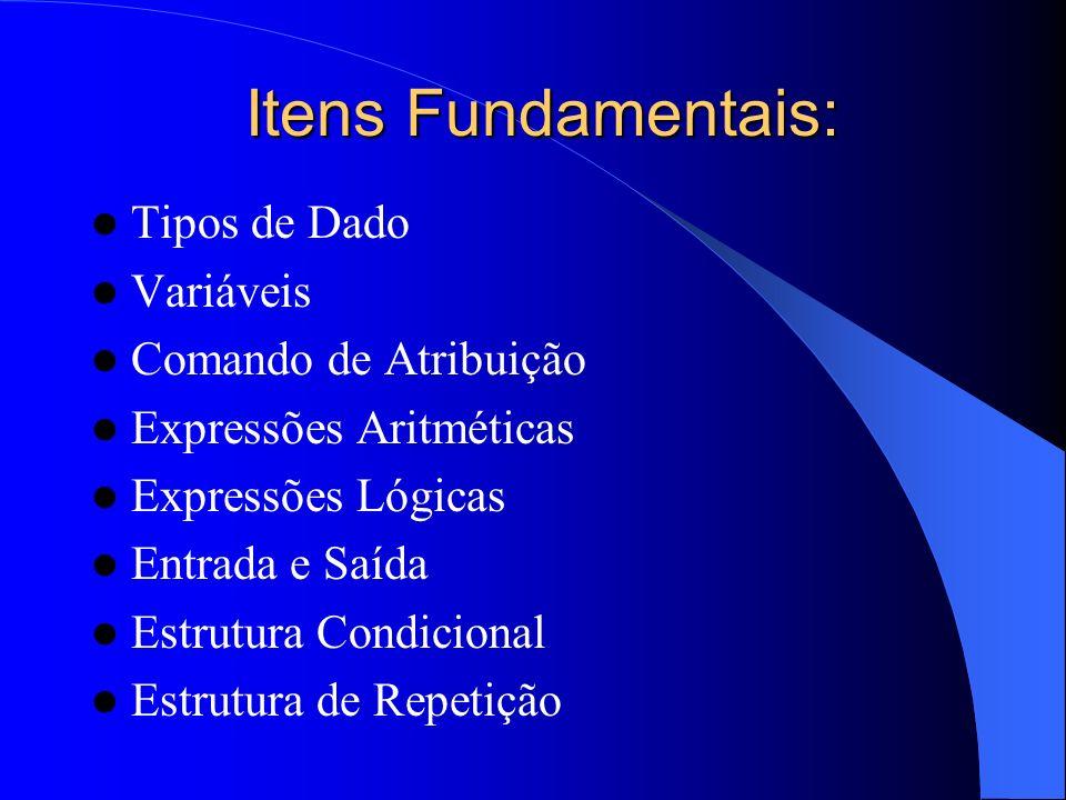 Itens Fundamentais: Tipos de Dado Variáveis Comando de Atribuição