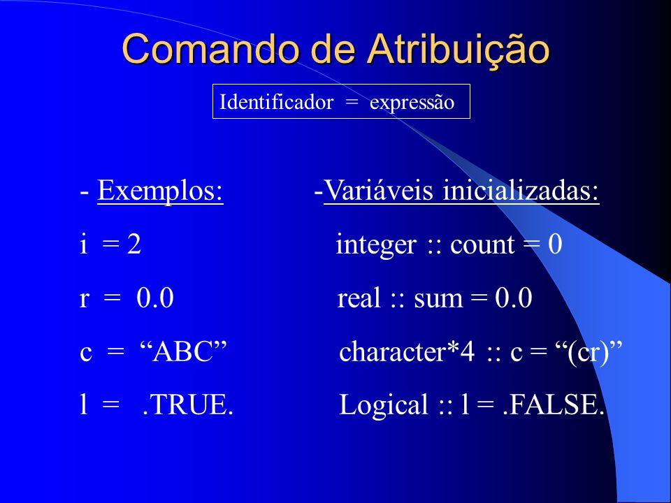 Comando de Atribuição - Exemplos: -Variáveis inicializadas: