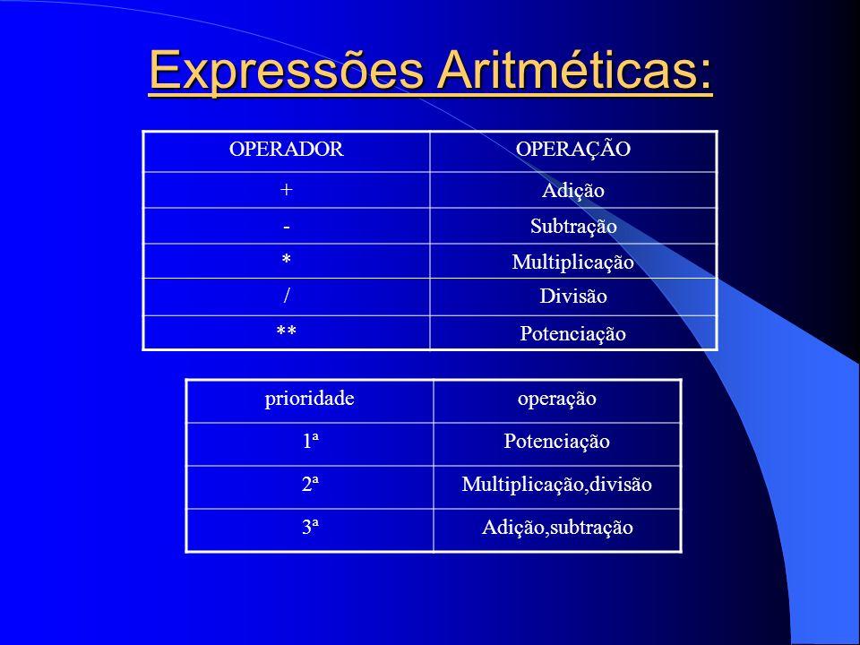 Expressões Aritméticas: