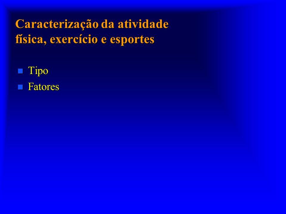 Caracterização da atividade física, exercício e esportes