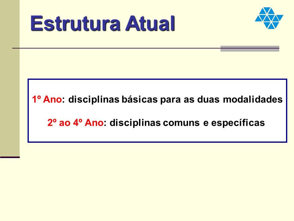 1º Ano: disciplinas básicas para as duas modalidades