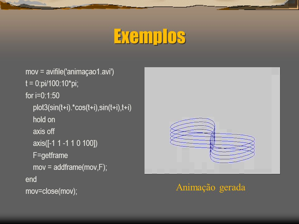 Exemplos Animação gerada mov = avifile( animaçao1.avi )