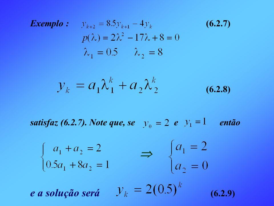  e a solução será (6.2.9) Exemplo : (6.2.7) (6.2.8)